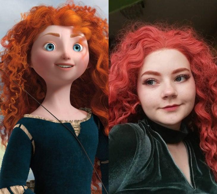 Disney princess challenge; chica disfrazada de princesa Merida, Valiente