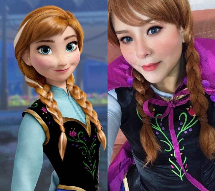 Disney princess challenge; chica disfrazada de princesa Anna, Frozen