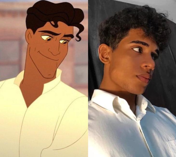 Disney princess challenge; chico disfrazado de príncipe Naveen de La princesa y el sapo