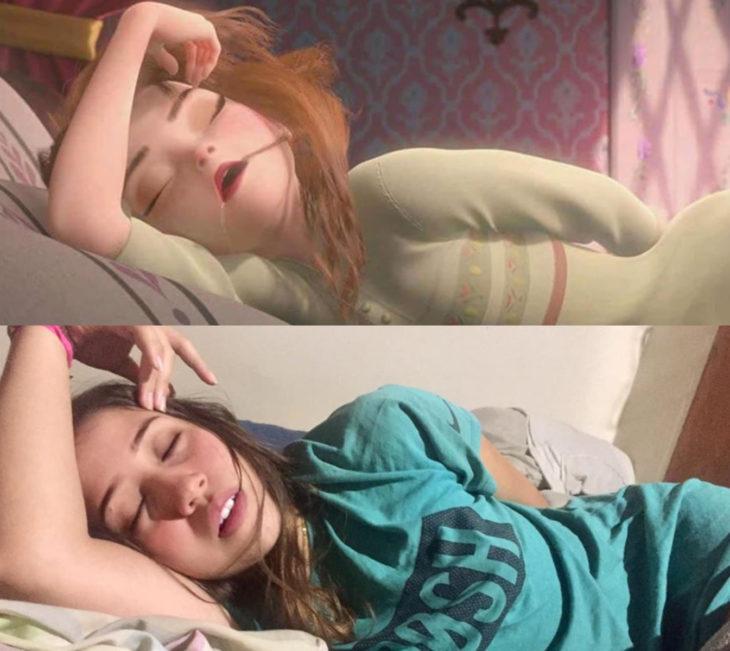 Disney princess challenge; chica disfrazada de princesa Anna durmiendo, Frozen