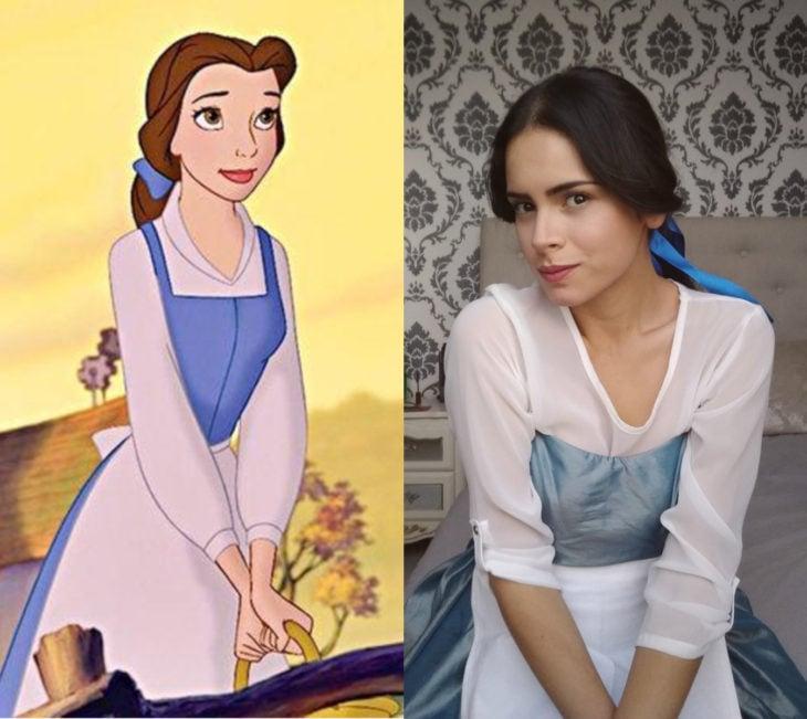 Disney princess challenge; chica disfrazada de princesa Bella, La bella y la bestia