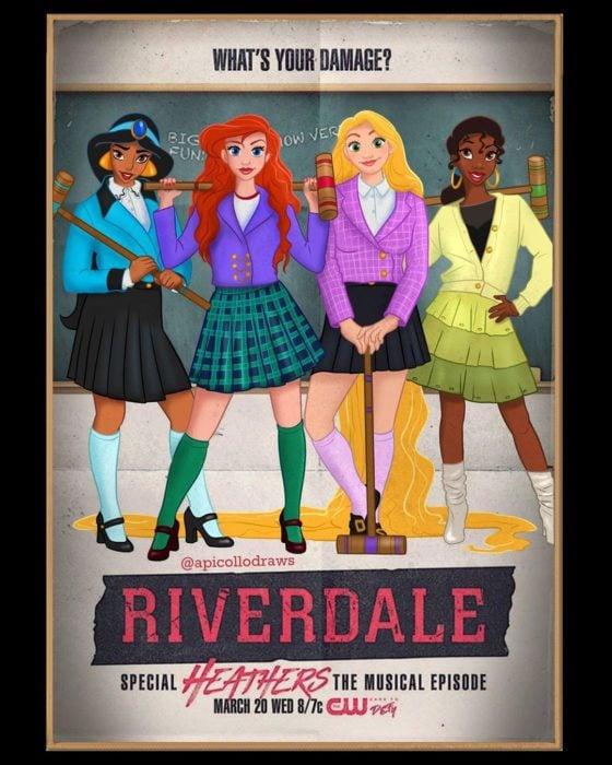 personajes de Disney en la portada de la película Riverdale