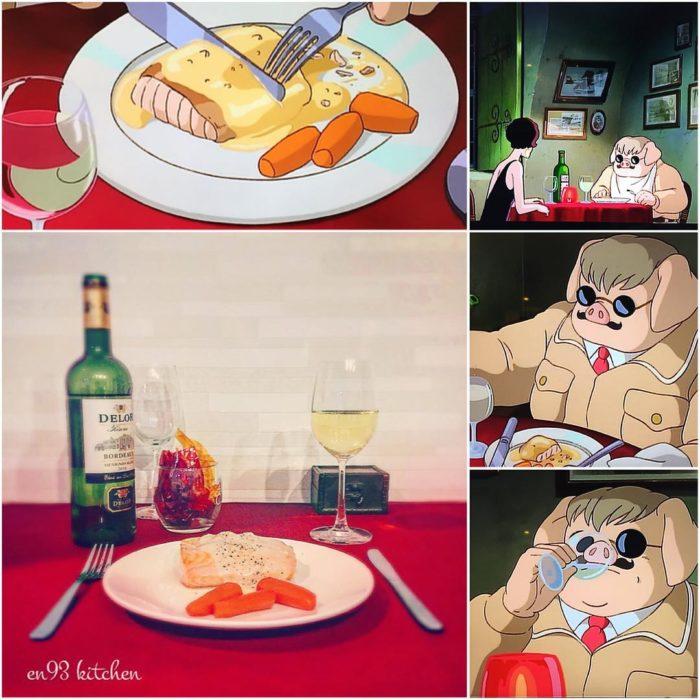 Recreación de comida de películas de Studio Ghibli, salmón con vegetales