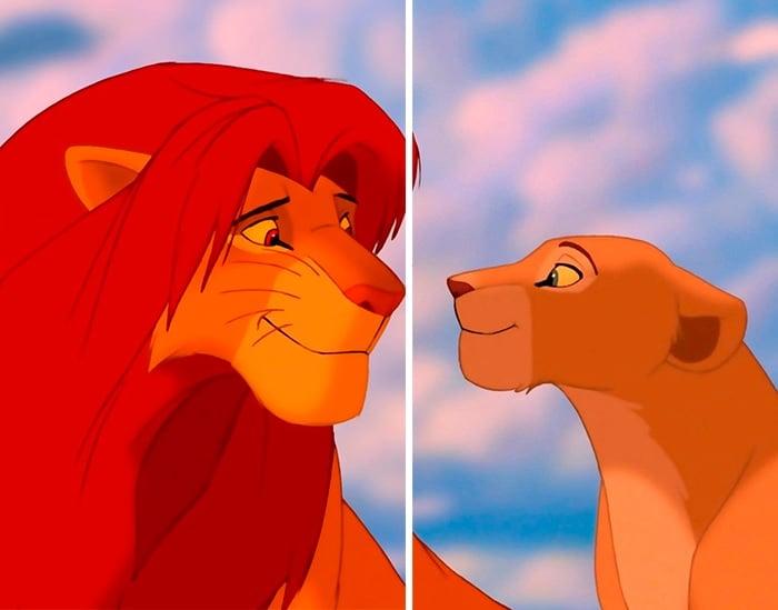 Fondo de pantalla en pareja de Simba y Nala