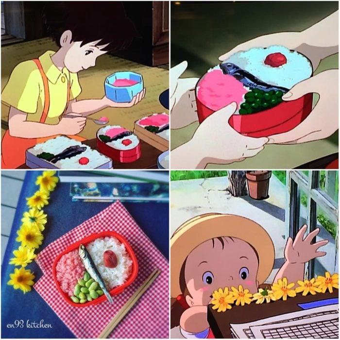 Recreación de comida de películas de Studio Ghibli, arroz, vegetales y atún
