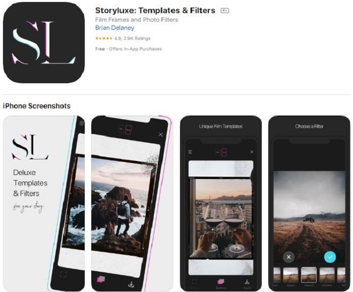 Story Luxe application for editing stories on Instagram