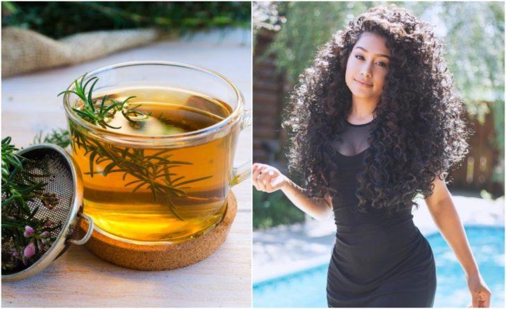 Chica de cabello largo y rizado junto a un vaso de té de romero