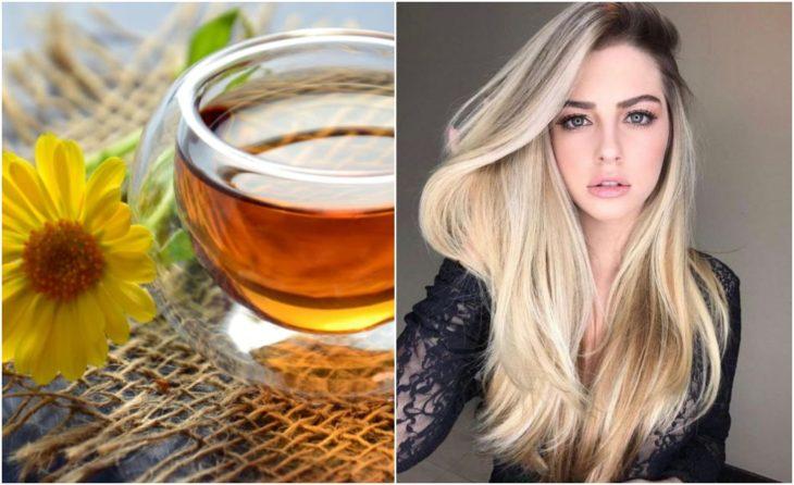 Chica con cabello largo y rubio junto a una taza de té de manzanilla