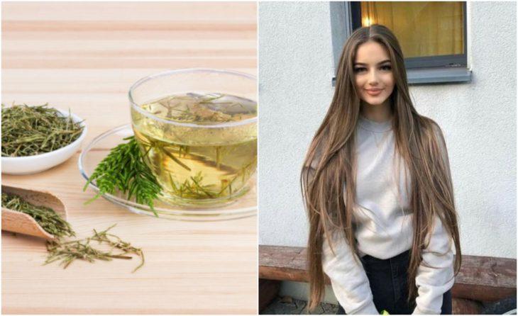 Chica de cabello largo con taza de té de cola de caballo