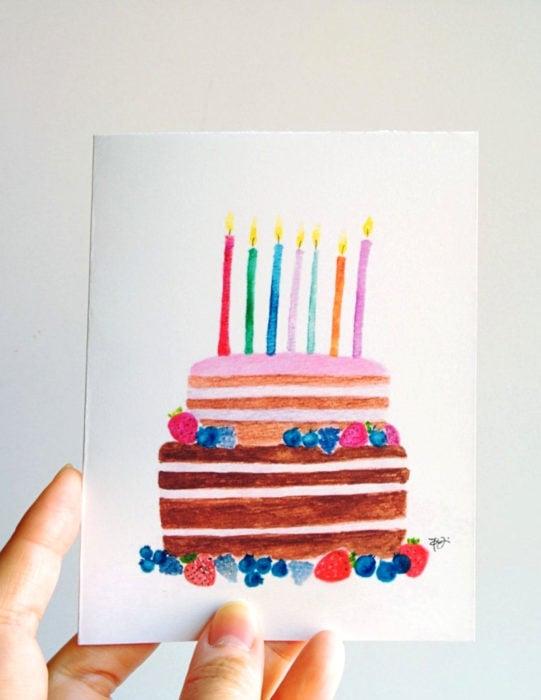 Tarjetas de felicitación infantiles para el Día del Niño; pastel de acuarelas