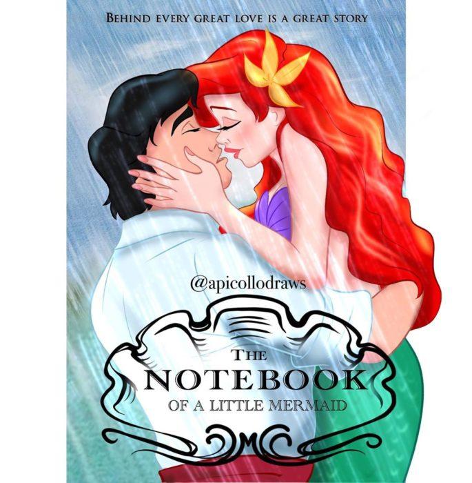 personajes de Disney en la portada de la película Diario de una pasión