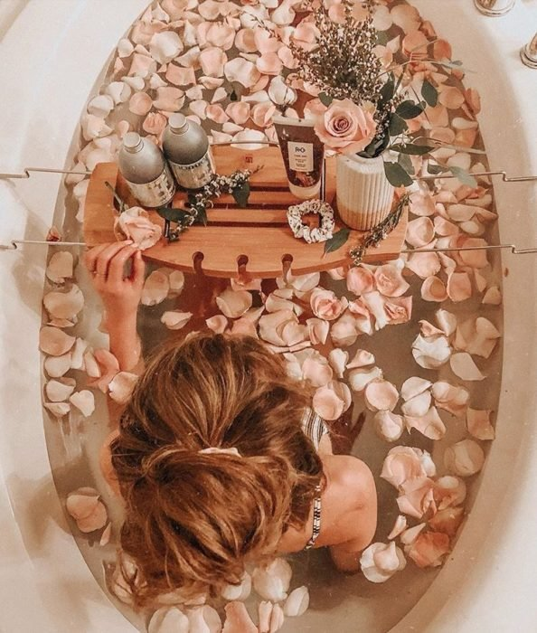 Girl in the tub relaxing