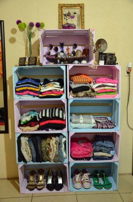Cajas de madera par organizar ropa