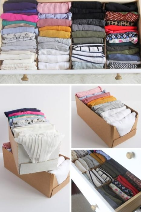 Organizador de ropa hecho con cajas de cartón