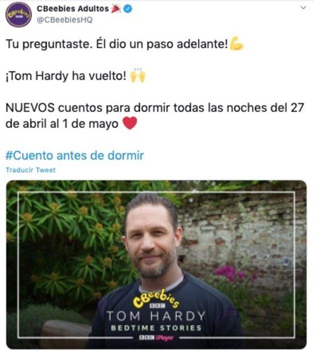 Tom Hardy vuelve a narrar cuentos en cbeebies