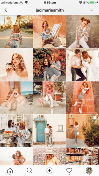 Feed de Instagram por tonalidades