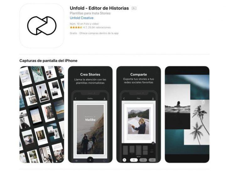 Unfold aplicación para edición de stories en Instagram