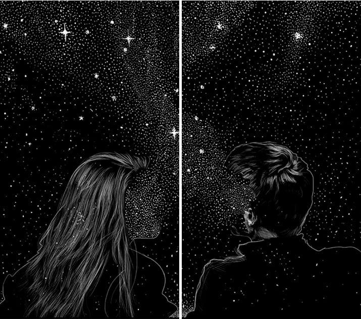 Fondo de pantalla en pareja de una pareja en el universo