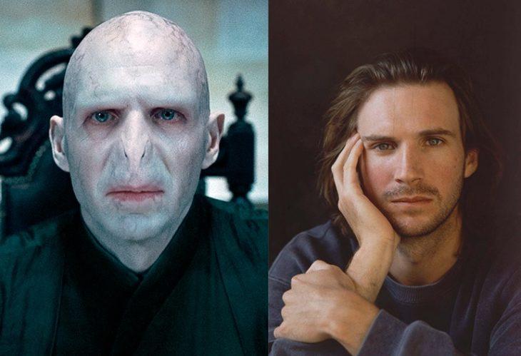 Foto comparativa del personaje Voldemort, con el actor que le dio vida Ralph Fiennes