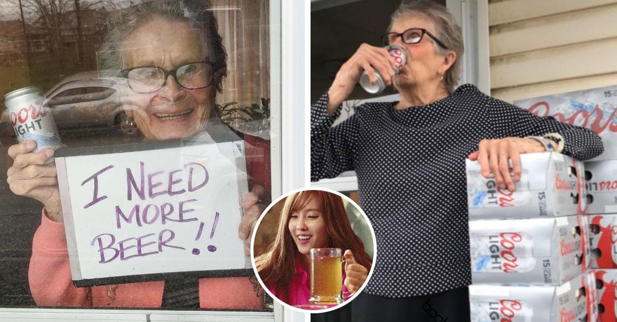 Abuelita en cuarentena pide cerveza y recibe 150 latas a domicilio