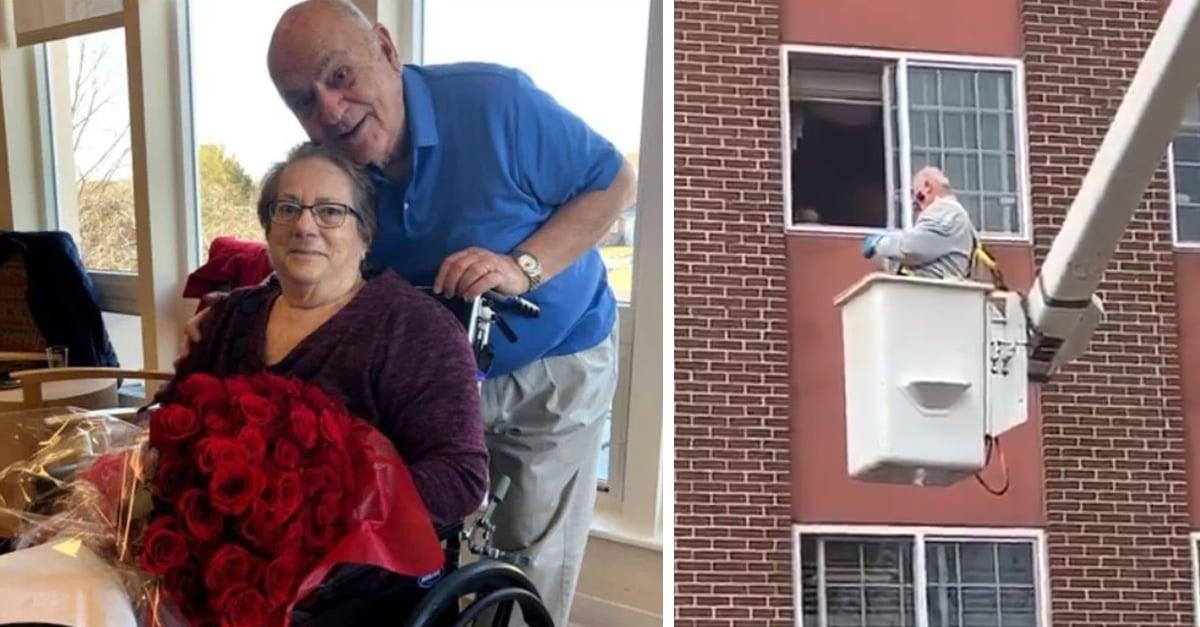 Abuelito de 88 años visita a su amada a través de la ventana a bordo de una grúa