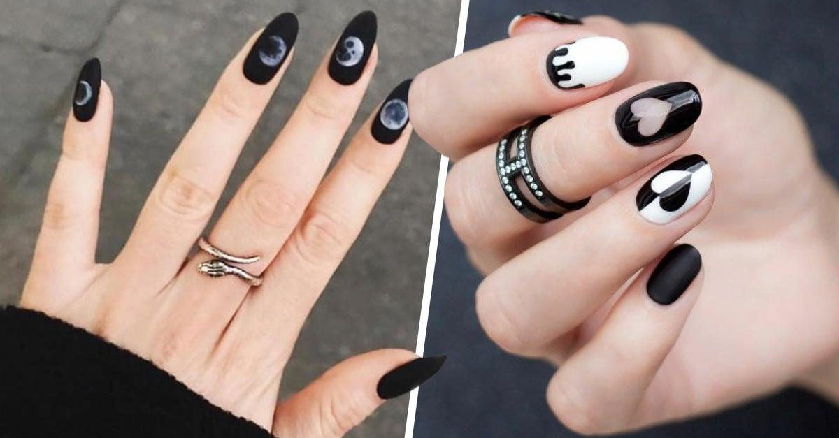 15 Manicuras en color negro perfectas para cualquier ocasión