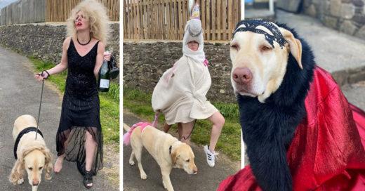 Mujer se disfraza cada que saca a pasear a su perro en cuarentena y es muy divertido