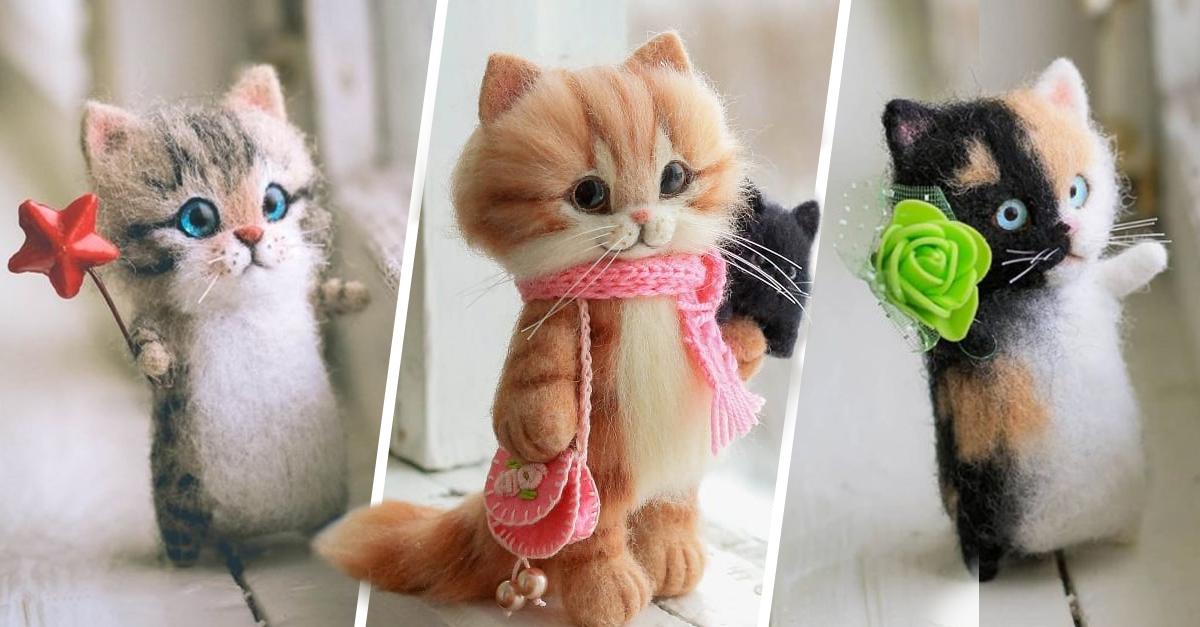 Artista rusa hace hermosos gatitos de fieltro y casi maullamos de ternura