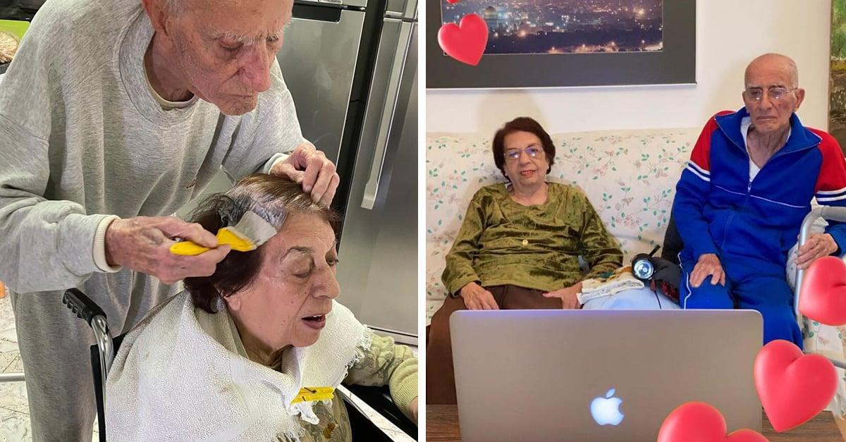 Abuelo tiñe el cabello de su esposa para que se vea linda en la cuarentena