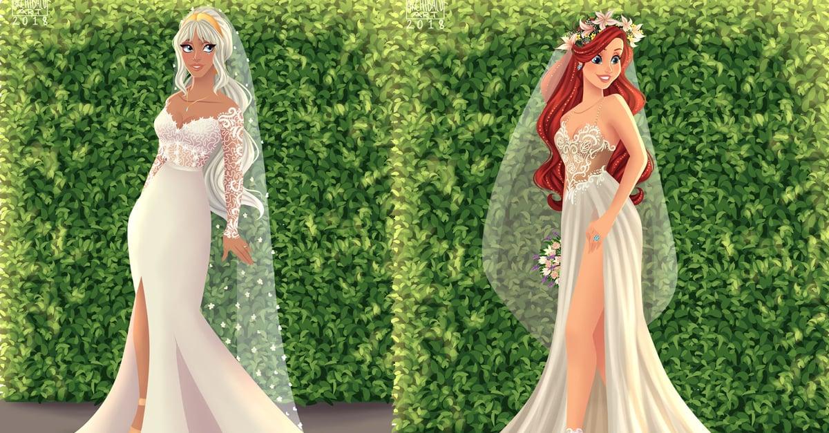 Así de hermosas lucirían las princesas de Disney con vestidos de novia