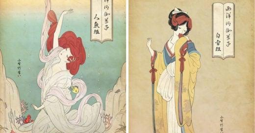 Artista dibuja a las princesas y a Sailor Moon con la técnica 'ukiyo-e'
