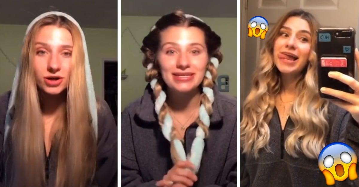 Tiktoker hace ondas perfectas en el cabello con un cinto de bata