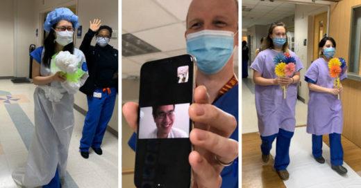 Pareja de médicos se casa en el hospital y por videollamada