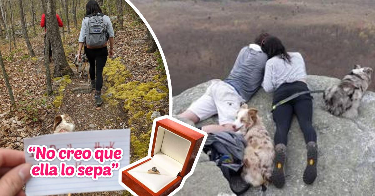 Le pidió matrimonio a su novia hasta llegar a la montaña y secretamente documentó todo