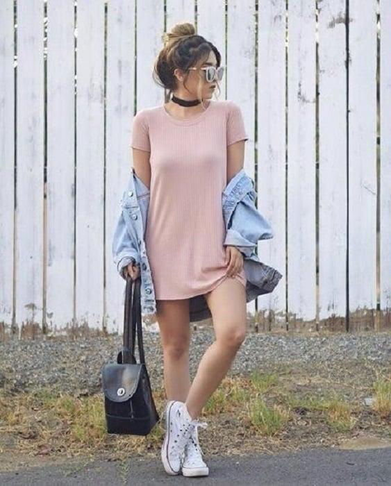 Vestido primaveral rosa palo