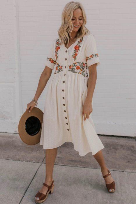 Vestido primaverla suelto color blanco y flores