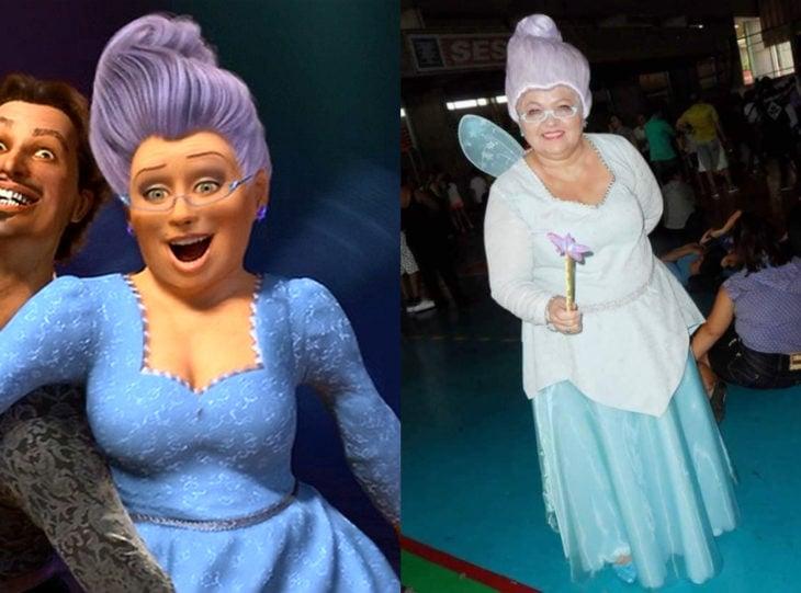 Tía Sol, la abuelita brasileña que hace cosplay; El hada madrina, Shrek