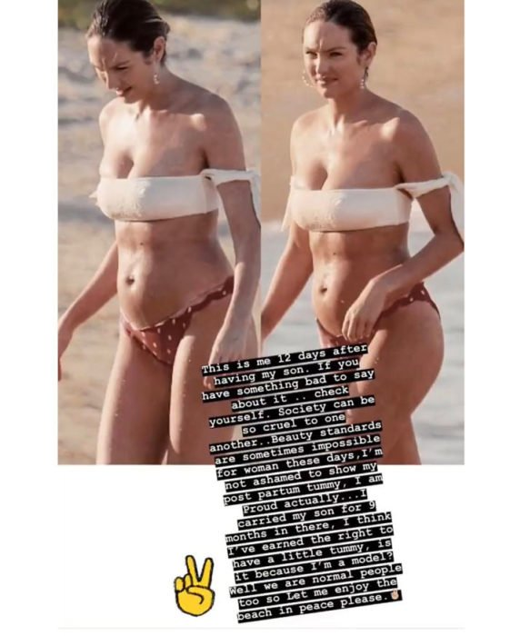 Candice Swanepoel usando traje de baño después de algunos días de haber dado a luz