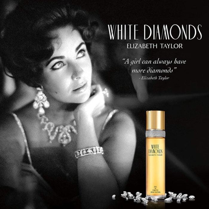Cartel promocional de El perfume White Diamond de Elizabeth