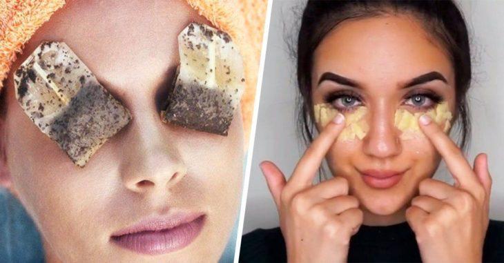 Chicas con mascarilla de ojos en oro y bolsas de té de manzanilla