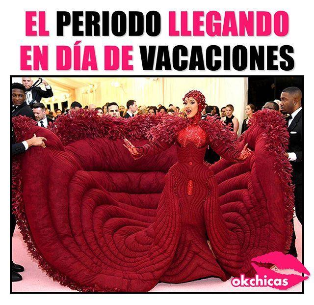 Meme de Cardi B llegando al Met Gala con un vestido rojo