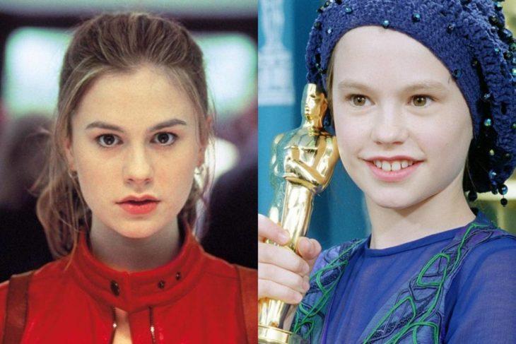 Anna Paquin de adulta y de niña sosteniendo una estatuilla a los premios Óscar