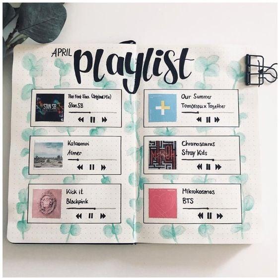 Portada de libreta con playlist de artistas pop