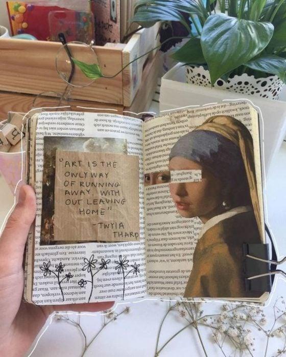 Libreta decorada con un recorte de la pintura la chica de la perla