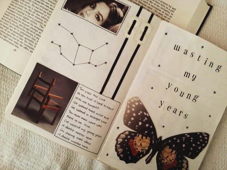 Libreta decorada con cintillas negras y recortes de mariposas monarcas