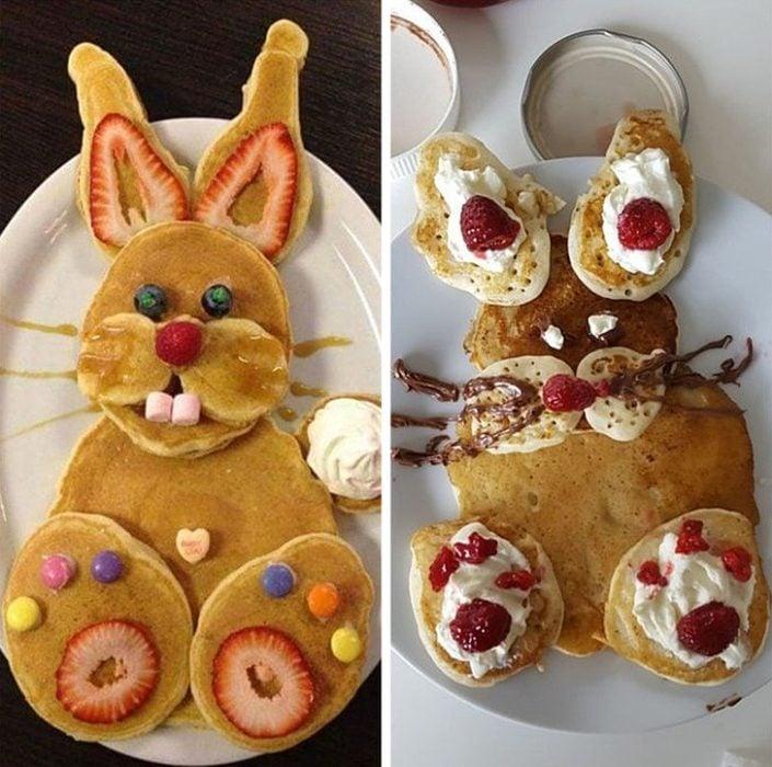 Expectativa VS realidad de desayuno de hot cakes decorados