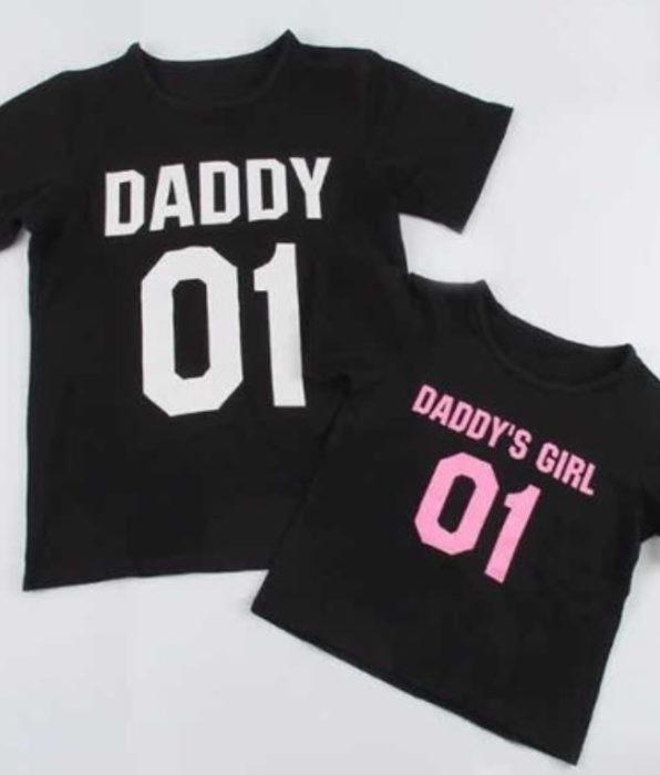 """Playera de regalo para el día del padre con la frase """"Daddy"""" y """"Daddy's girl"""""""