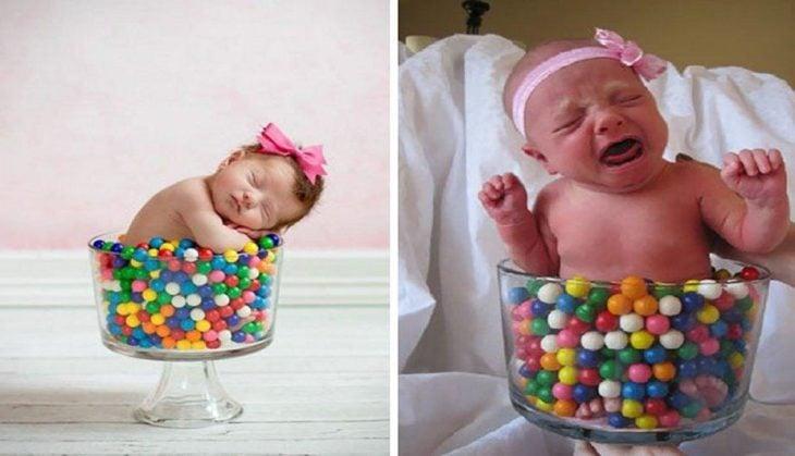 Expectativa VS realidad de sesión de fotos para recién nacidos