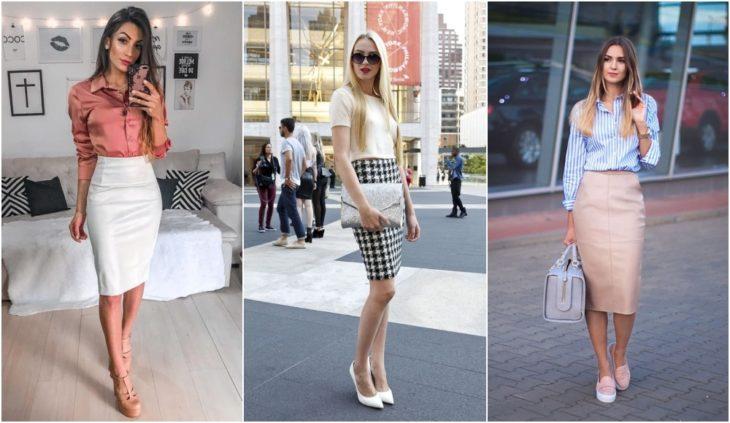 Chicas usando falda lápiz con camisas elegantes para ir al trabajo