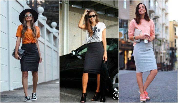 Chicas llevando falda lápiz con tenis y estilettos